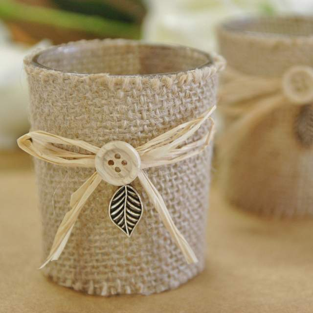 Bonbonniere, Rustic Candle Holder, Wedding Decorations, Burlap, Twine, Leaf, Discount Wedding Papers, DWP