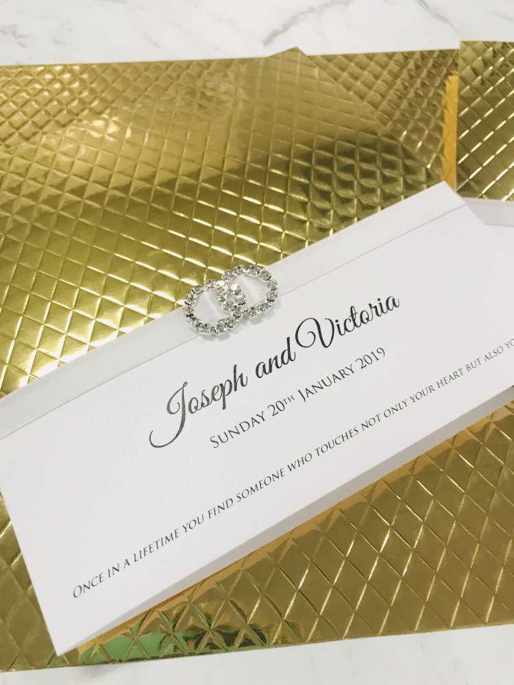 Gold Embossed Diamante with Crystal White Card