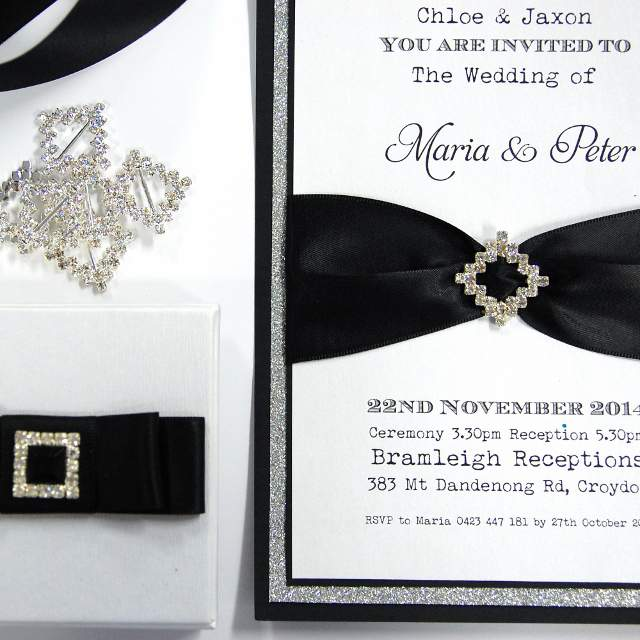 DIY Invitations, Crystal Paper, Metallic Black, Diamante Buckles, Black Ribbon, Silver Glitter Paper, Wedding Invitations, Discount Wedding Papers, DWP